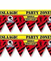 2 plastic markeerlinten vlaggetjes geslaagd 12 meter feestartikelen