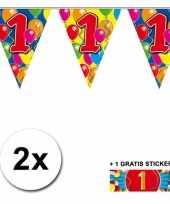 2 x leeftijd vlaggenlijnen 1 jaar met sticker