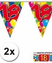 2 x leeftijd vlaggenlijnen 18 jaar met sticker