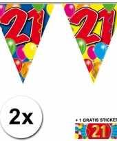 2 x leeftijd vlaggenlijnen 21 jaar met sticker