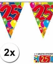 2 x leeftijd vlaggenlijnen 25 jaar met sticker