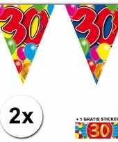 2 x leeftijd vlaggenlijnen 30 jaar met sticker