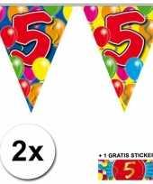 2 x leeftijd vlaggenlijnen 5 jaar met sticker