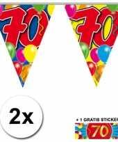2 x leeftijd vlaggenlijnen 70 jaar met sticker