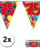2 x leeftijd vlaggenlijnen 75 jaar met sticker