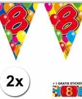 2 x leeftijd vlaggenlijnen 8 jaar met sticker