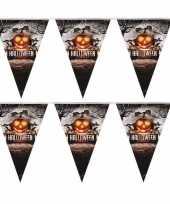 2x halloween decoratie vlaggenlijn pompoenen 250 cm