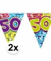 2x mini vlaggenlijn feestversiering met leeftijd 50