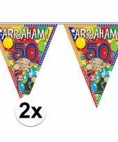 2x plastic abraham 50 jaar vlaggenlijnen