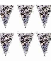 2x stuks vlaggenlijn slinger happy new year holografisch 3 6 meter