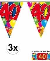 3 x leeftijd slinger 40 jaar met sticker