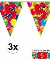 3 x leeftijd slinger 5 jaar met sticker