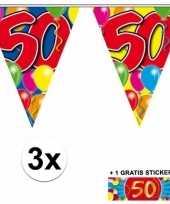 3 x leeftijd slinger 50 jaar met sticker