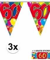 3 x leeftijd slinger 60 jaar met sticker