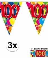 3 x leeftijd vlaggenlijnen 100 jaar met sticker