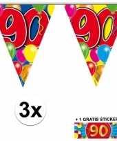3 x leeftijd vlaggenlijnen 90 jaar met sticker