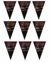 3x halloween decoratie vlaggenlijn met pompoenen 250 cm