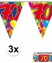 3x leeftijd slinger 70 jaar met sticker