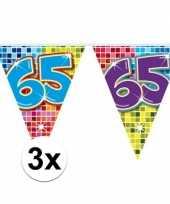 3x mini vlaggenlijn feestversiering met leeftijd 65