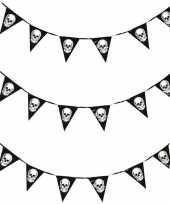 3x piraten thema vlaggenlijnen slingers 360 cm piraten decoratie