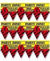 3x plastic markeerlinten vlaggetjes waar is dat feestje 12 meter feestartikelen