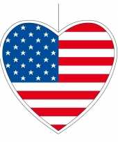 3x thema amerika hangdecoratie hart 14 cm