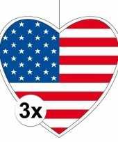 3x thema amerika hangdecoratie hart 28 cm