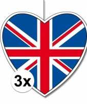 3x thema engeland hangdecoratie hart 28 cm