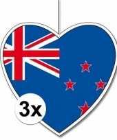 3x thema nieuw zeeland hangdecoratie hart 28 cm