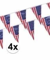 4x amerikaanse usa vlaggenlijnen van 4 meter