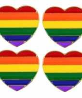 4x regenboogvlag kleuren metalen pin broche hartje 3 cm