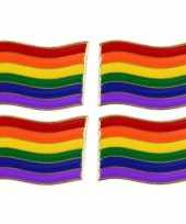 4x regenboogvlag kleuren metalen pin button 4 cm