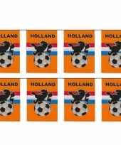 4x stuks vlaggenlijnen vlaggetjes oranje holland voetbal thema 10 meter