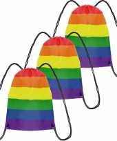 5x gymtasje rugtas rijgkoord regenboog rainbow pride vlag voor volwassenen en kids