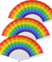 5x spaanse hand waaiers regenboog rainbow pride vlag 14 x 23 cm