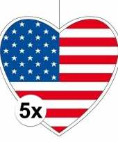 5x thema amerika hangdecoratie hart 28 cm