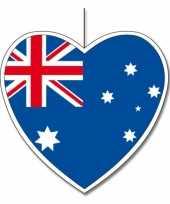 5x thema australie hangdecoratie hart 14 cm