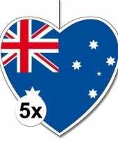 5x thema australie hangdecoratie hart 28 cm