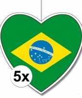 5x thema brazili hangdecoratie hart 28 cm