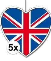 5x thema engeland hangdecoratie hart 28 cm