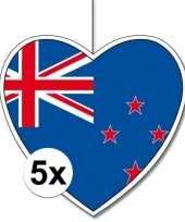 5x thema nieuw zeeland hangdecoratie hart 28 cm