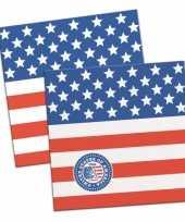 60x papieren servetjes amerikaanse vlag usa thema feestartikelen 25 x 25 cm