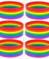 6x regenboogvlag kleuren armbandje 20 cm