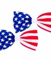 6x stuks usa amerikaans verkleed vlinder strikje 16 5 cm