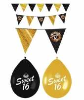 Black and gold sweet sixteen decoratie set