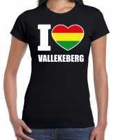 Carnaval i love vallekeberg t-shirt zwart voor dames