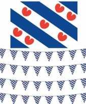Elfstedentocht decoratie pakket met vlag en 4 vlaggenlijnen