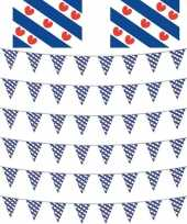 Elfstedentocht versiering pakket met 2 vlaggen en 6 vlaggenlijnen