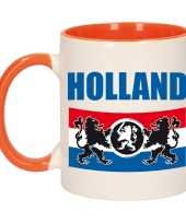 Holland met vlag en leeuw mok beker oranje wit 300 ml