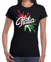 Italia italie t-shirt spetter zwart voor dames